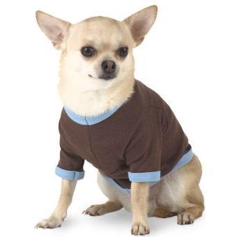 Doggie Skins Ringer T-Shirt XS - Brown/Light Blue
