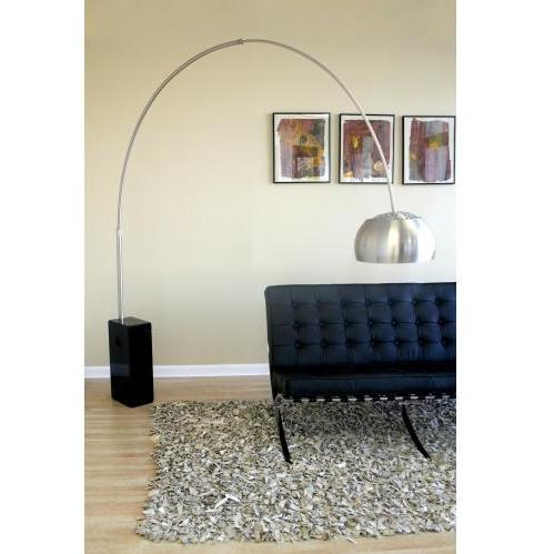 Sloan Round Marble Base Arched Floor Lamp In Black