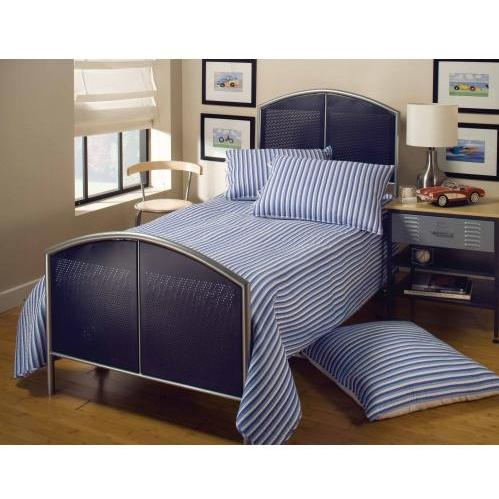 Hillsdale Universal Silver And Navy Youth Metal Bed Set With Frame - Twin - 1177BTR