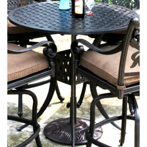 Alfresco Home Weave 42 Inch Round Bar Table & Base With Umbrella Hole - Antique Fern