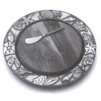 Wilton Armetale Seashells Small Round Tray W/ Cheese Board And Spreader