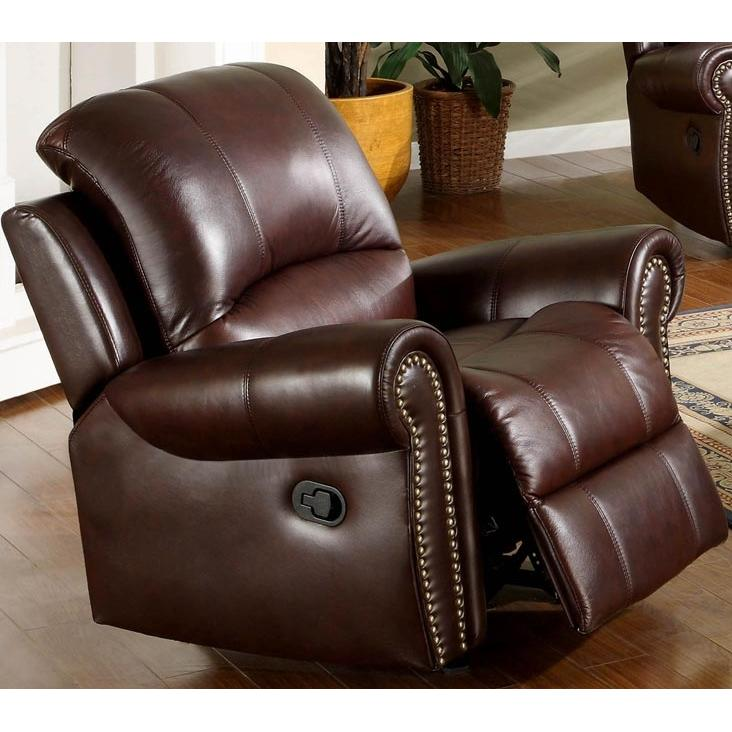 Picture of Abbyson Living Broadway Reclining Italian Leather Armchair - CH-8811-BRG-1