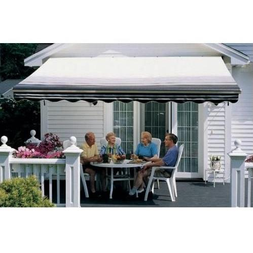 Sunsetter Pro Motorized Awning (13 Ft / Black Stripe) With Traditional Laminated Fabric With Right Mounted Moter And Soffit Bracket