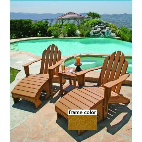 Eagle One Recycled Plastic Adirondack Chair, Foot Stool And Lexington End Table - Cedar