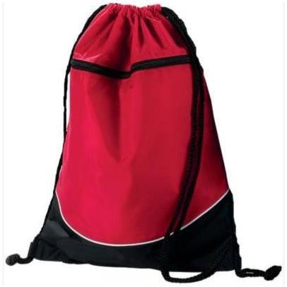 Augusta Tri-color Drawstring Backpack - Red/black