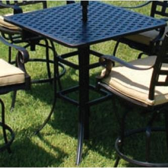 Alfresco Home Chateau 36 Inch Square Bar Table & Base With Umbrella Hole - Antique Topaz