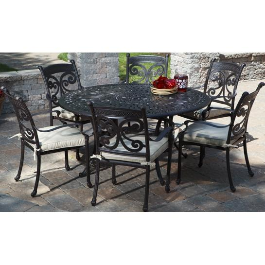 Alfresco Home Farfalla 60 Inch Round Dining Set - Antique Wine