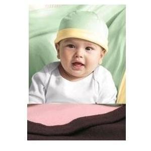 Bella Baby 1x1 Rib Infant Reversible Beanie - Chocolate/Pink