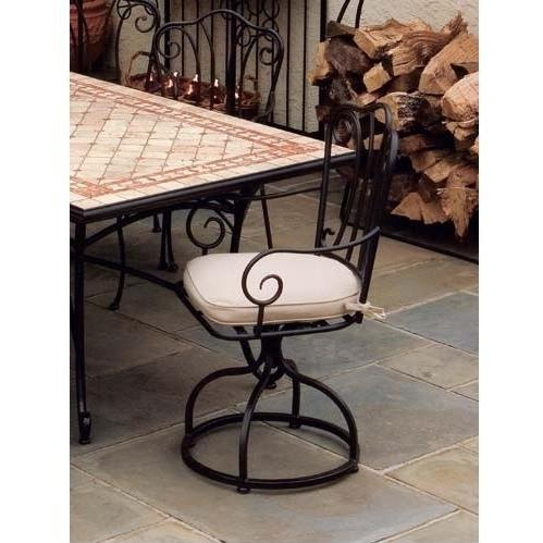 Alfresco Home Swirl Outdoor Dining Arm Chair With Cushion - Set Of 2
