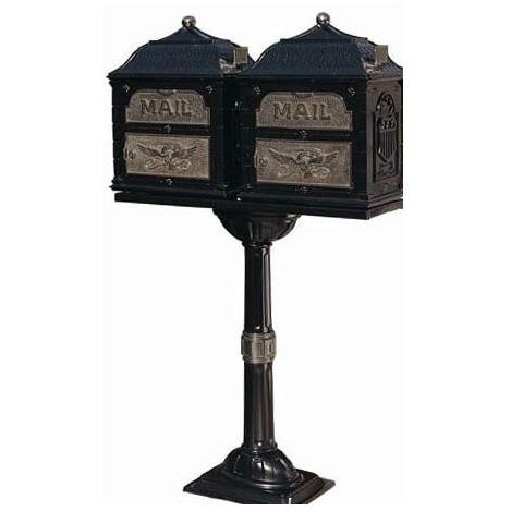 Classic Series Double Mount High Security Locking Mailbox W/ Pedestal - Black W/ Antique Bronze