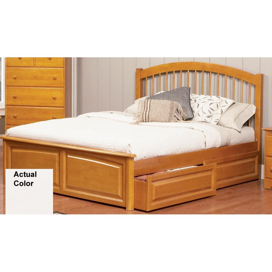 Atlantic Furniture 1022220 Windsor Twin Bed Raised Panel Footboard Style White