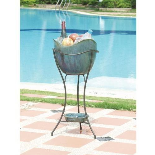 Alfresco Home Duetto Outdoor Beverage Cooler With Shelf And Stand - Blue