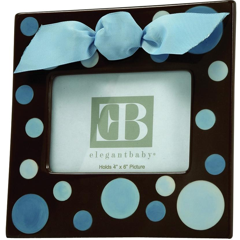 Elegant Baby 4x6 Ceramic Picture Frame - Blue Dot