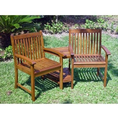 International Caravan Acacia Wood Conversation Double Chair With Table - Stain - VF-4113-ST