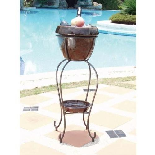 Alfresco Home Duetto Outdoor Beverage Cooler With Shelf And Stand - Cognac