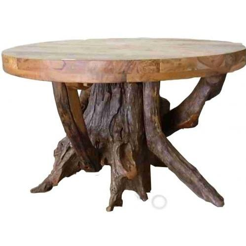 Picture of Groovy Stuff Teak Wood Stump Dining Table - Round - TF-774