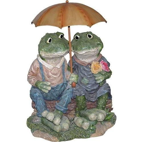 Alpine Statuary - Two Frogs With Umbrella