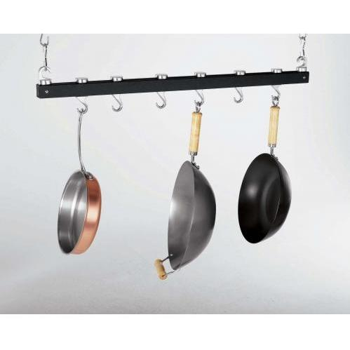 Concept Housewares CP40215 Dark Grey Wood Innovative 36-Inch Dual Track Ceiling Kitchen Rack