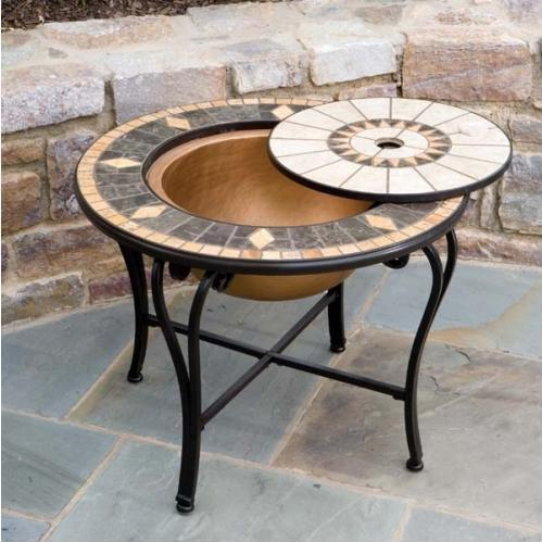 Alfresco Home Compass Outdoor Lounge Table With Fire Pit And Beverage Center - 48 Inch Round