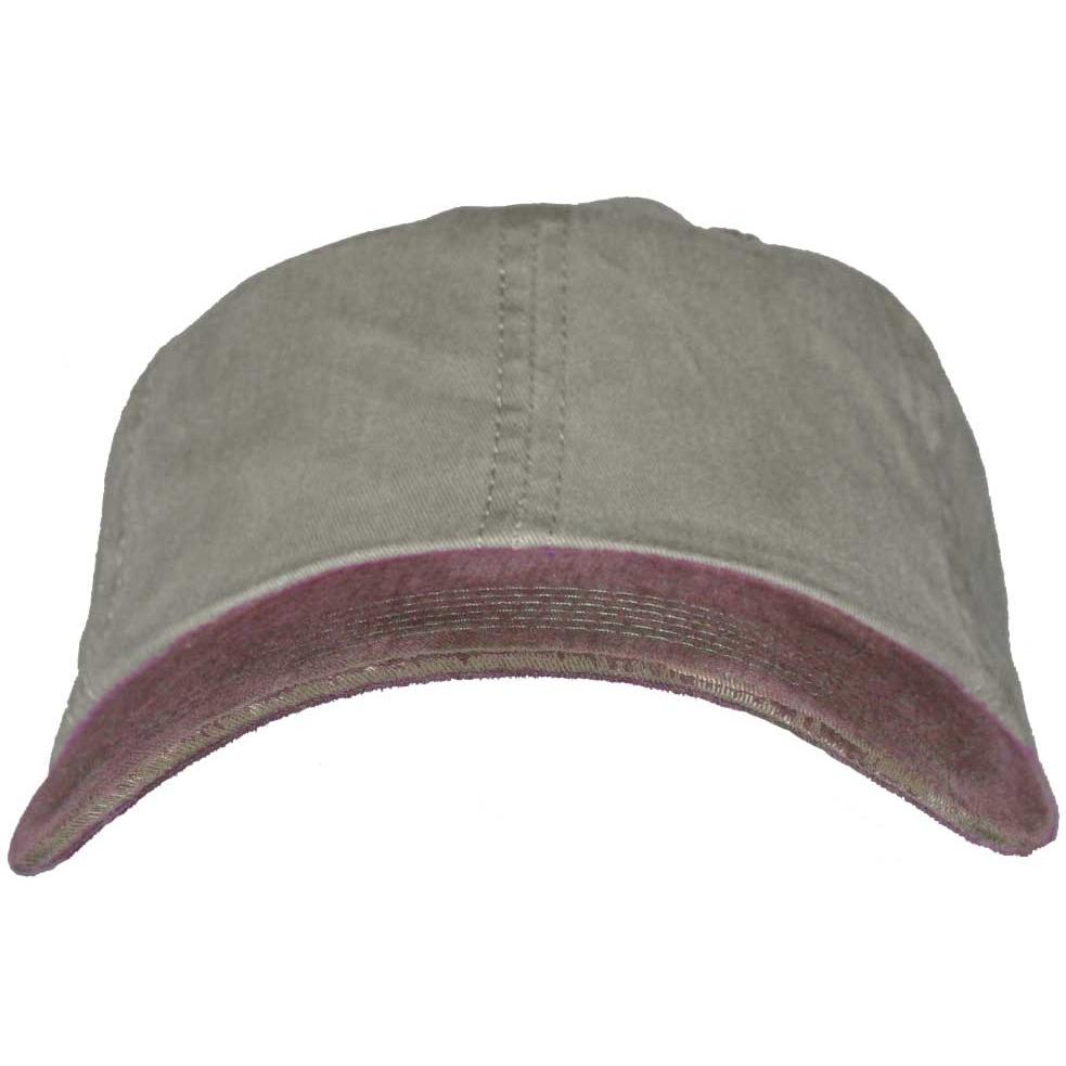 Port Authority 2-Tone Garment-Washed Cap - Pebble / Maroon, Discount ID PWTTU-82263
