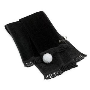 Port & Company Grommeted Hand Towel - Black