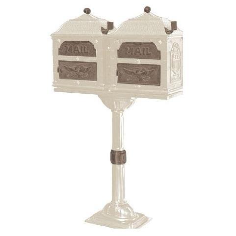 Classic Series Double Mount High Security Locking Mailbox W/ Pedestal - Almond W/ Antique Bronze