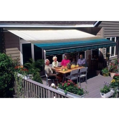 Sunsetter Pro Motorized Awning (13 Ft / Blue Stripe) With Traditional Laminated Fabric With Left Mounted Moter And Soffit Bracket