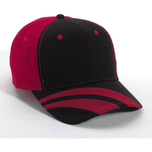 Cobra Caps Fastlane Striped Brushed Cotton Twill Cap - Black / Red, Discount ID FLANE-1000