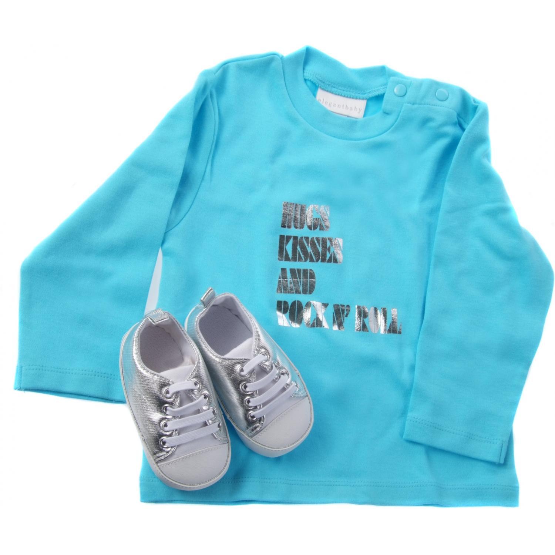 Elegant Baby Rock&Roll Tee/Shoe Set 12 Month - Aqua