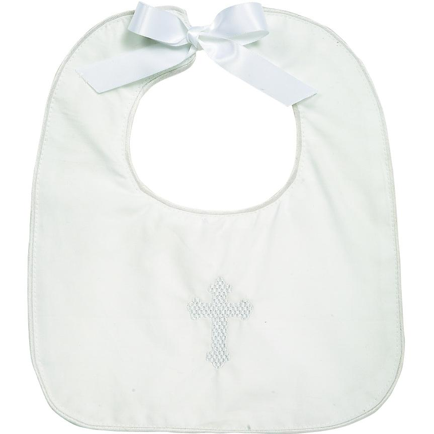 Elegant Baby Square-Edge White Christening Bib - Boy
