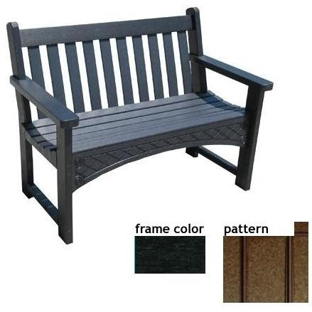 Eagle One Recycled Plastic 4 Foot Heritage Bench New England Pattern - Black