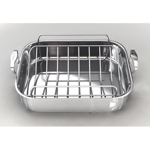 Chefs Design Traditional Series Stainless Steel French Roaster With Stainless Steel Roasting Rack - 16.75 Inch
