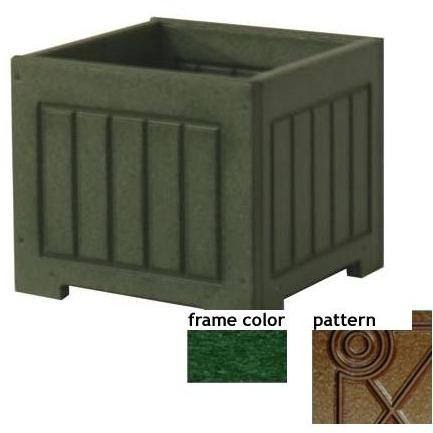 Eagle One Recycled Plastic 12 Inch Catalina Planter Box Diamond Pattern - Green