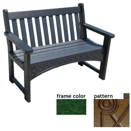 Eagle One Recycled Plastic 4 Foot Heritage Bench Diamond Pattern - Green