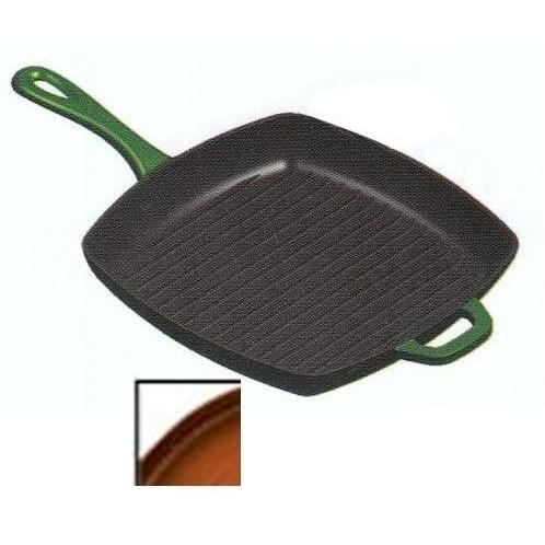 Lodge Pans Cafe Cast Iron Enamel Grill Pan, Gradated Brown - ECSGP83
