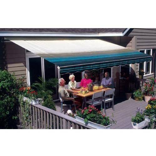 Sunsetter Pro Motorized Awning (11 Ft / Blue Stripe) With Traditional Laminated Fabric With Right Mounted Motor And Wall Bracket