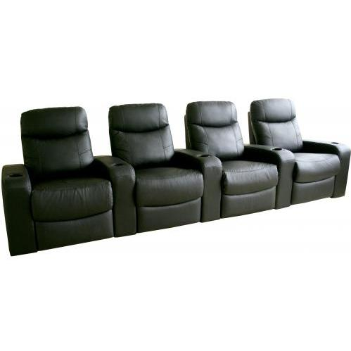 Talyessin Leather Home Theater Recliner Set Of Four InBlack