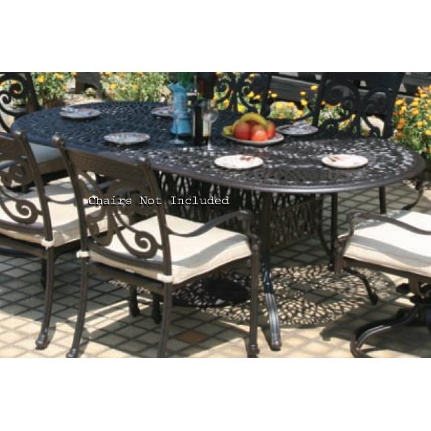 Alfresco Home Kaleidoscope 84 Inch Oval Dining Table & Base With Umbrella Hole - Antique Wine