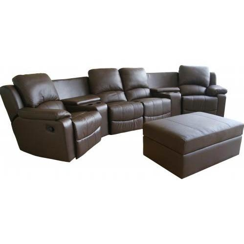 Tavis Leather Curved 7-pcs Home Theater Sectional In DarkBrown