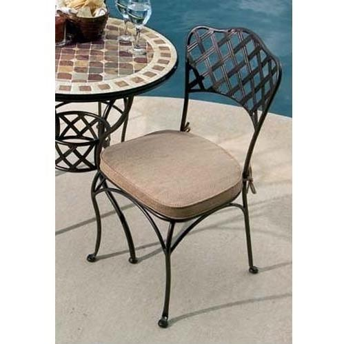 Alfresco Home Basketweave Outdoor Bistro Side Chair With Cushion - Set Of 2