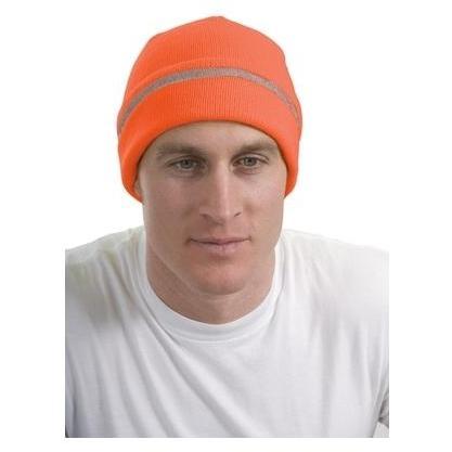CornerStone Reflective Stripe Safety Beanie - Safety Orange/ Reflective