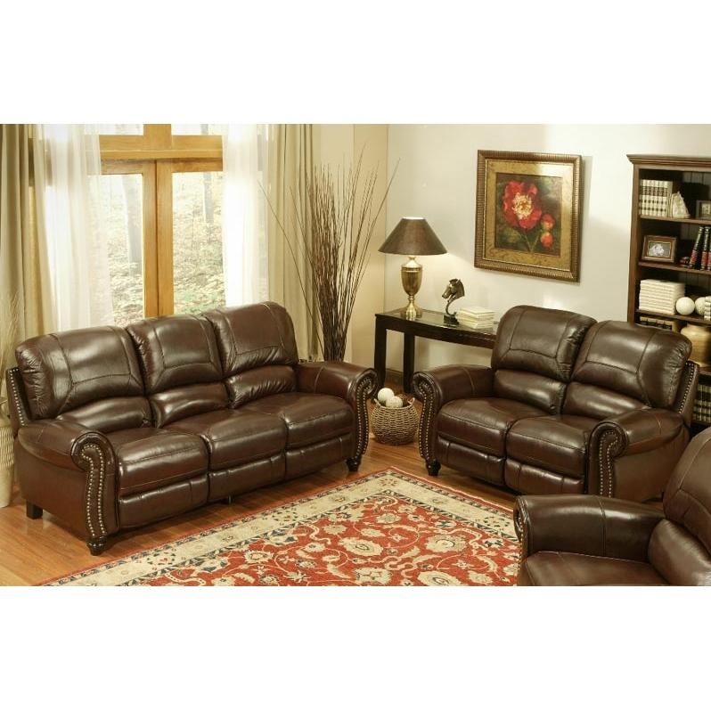 Picture of Abbyson Living Madison Leather Pushback Reclining Sofa And Loveseat Set - CH-8857-BRG-32