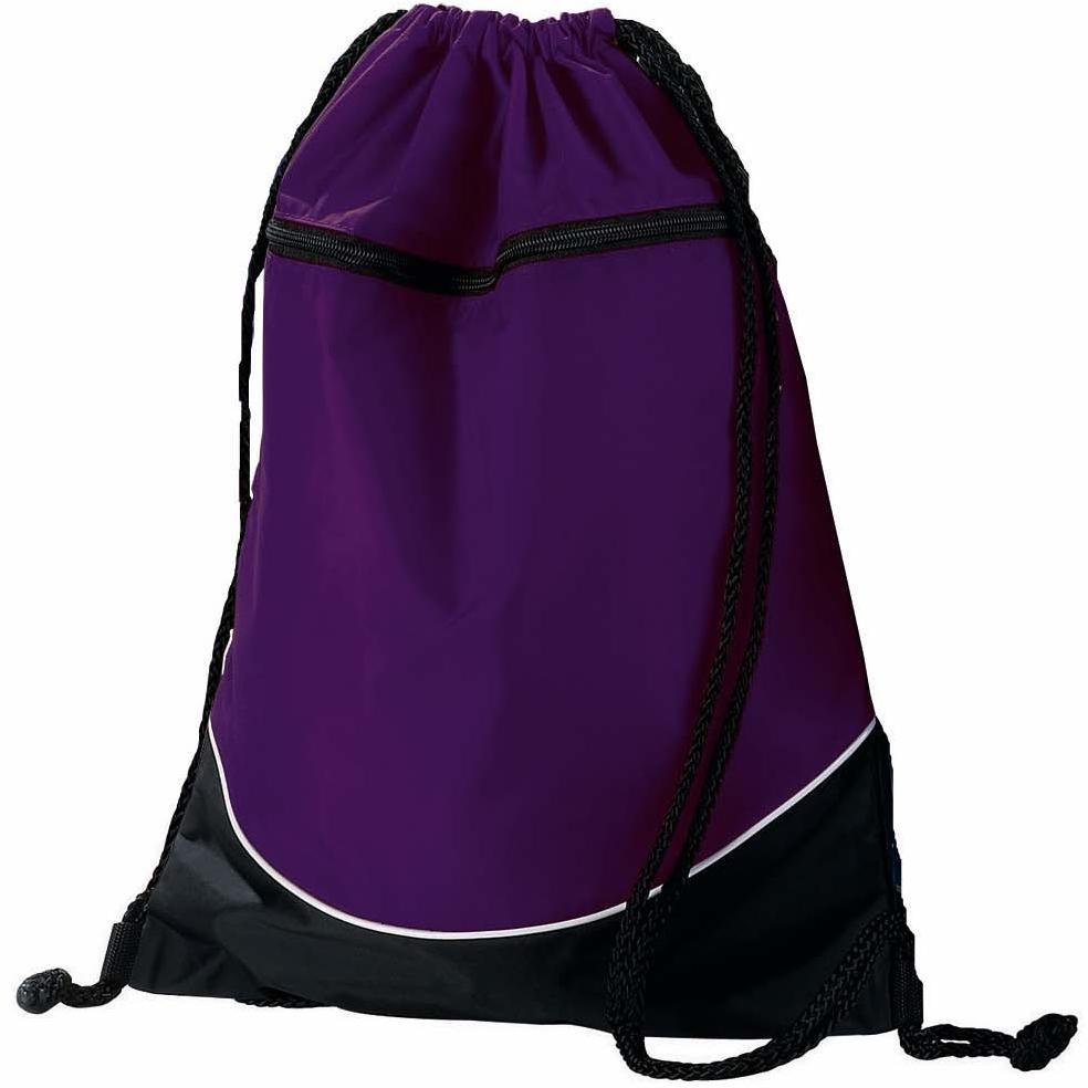 Augusta Tri-color Drawstring Backpack - Purple/black