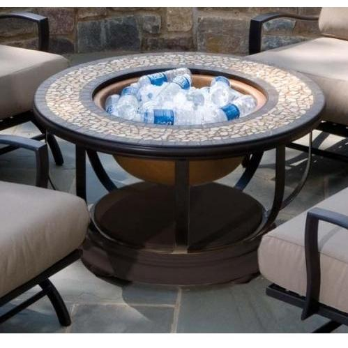 Alfresco Home Umbria Outdoor Lounge Table With Fire Pit And Beverage Center - Round