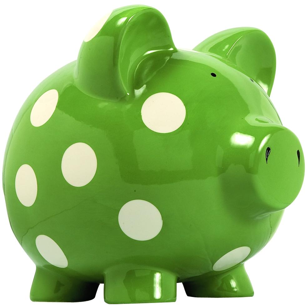 Elegant Baby Huge Piggy Bank - Green/White Dot