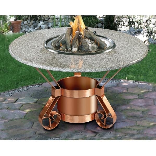 Tuscany Dining Height Fire Pit - Solid Copper Base/ Sea Green Granite Top - LP
