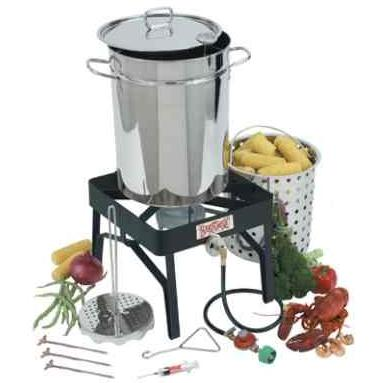 32 Quart Stainless Steel Bayou Classic Turkey Deep Fryer Set With Painted Steel Gas Burner