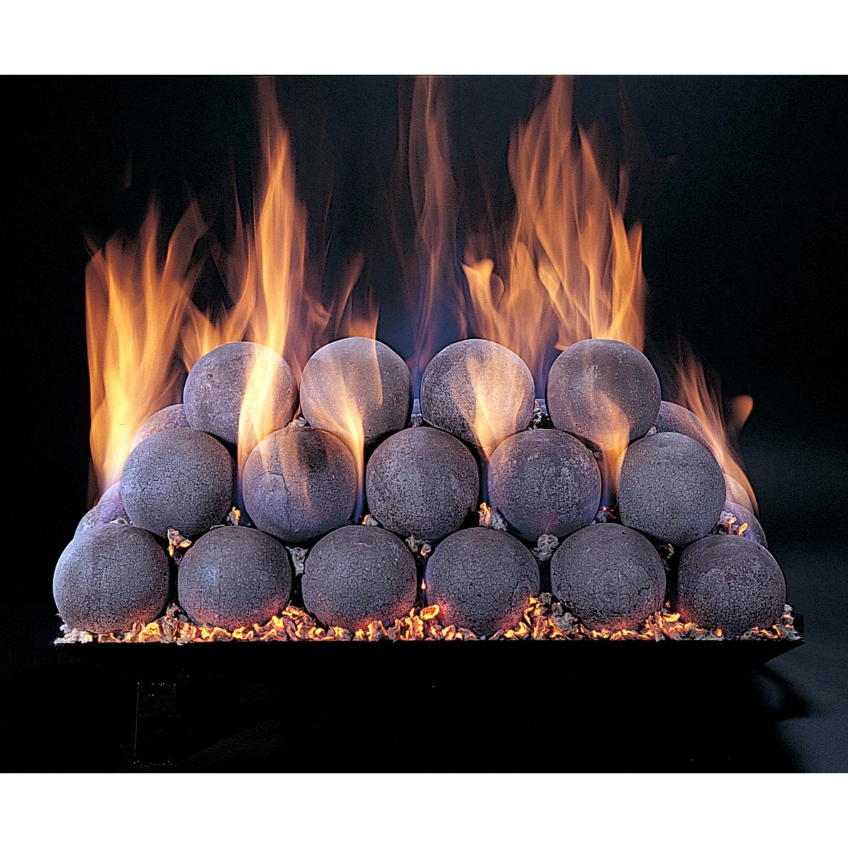 Rasmussen 18 Inch Natural FireBall Set With Vented Natural Gas Custom Embers Pan Burner - Match Light