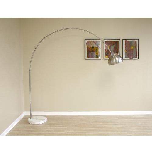 Slany Flat Marble Base Arched Floor Lamp In White