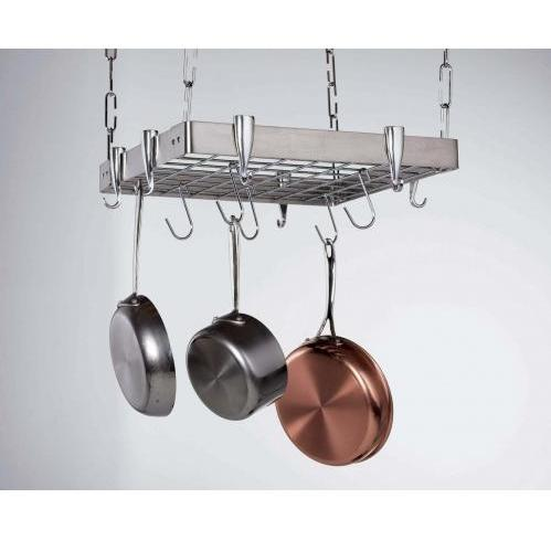 Concept Housewares CP40902 Stainless Steel Square Ceiling Kitchen Pot Rack